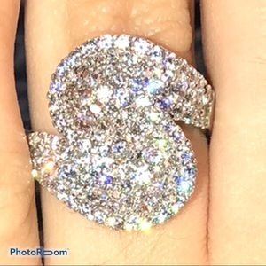 Diamonique pave wrap ring
